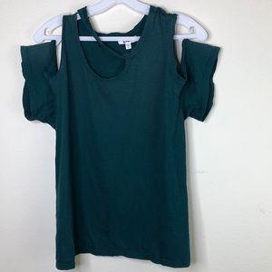 3/$45 green LNA cold shoulder cut out t shirt